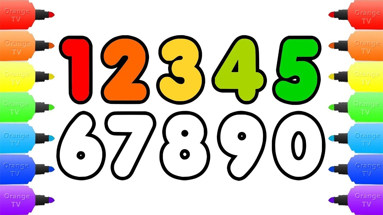 how to draw numbers coloring pages for kids draw color numbers learn colors drawing art for kids - Color Numbers