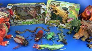 Dinosaurs toys - GIANT INSECTS toys jurassic world !!! SPINOSAURUS , T-REX,TYLOSAURUS,CRETACEOUS