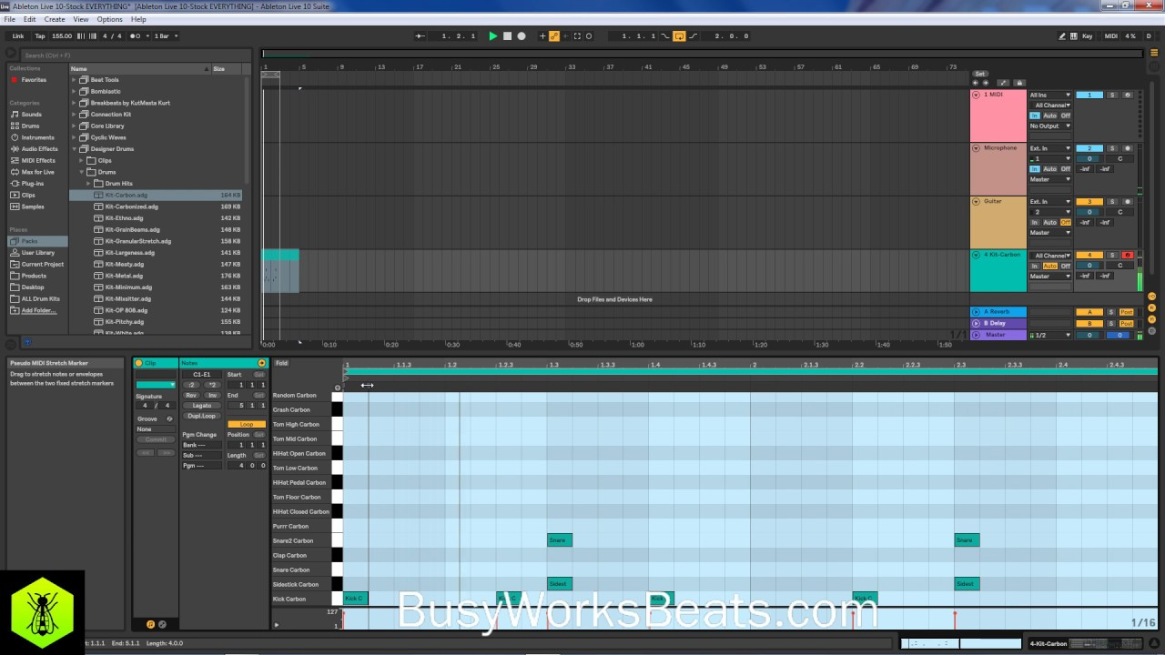 Ableton Live 10 Tutorial - Hip Hip Beat Stock Plugins Only