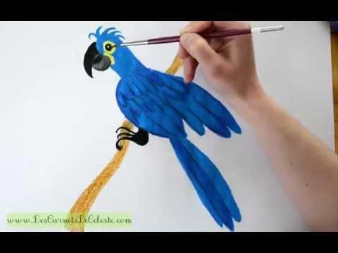 Comment dessiner un ara hyacinthe grand perroquet bleu - Dessiner un perroquet ...