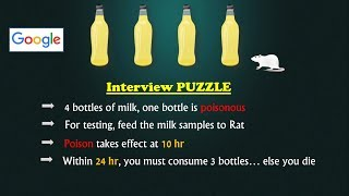 Google Interview Puzzle | Poisonous Milk Bottle | Simple yet Tricky