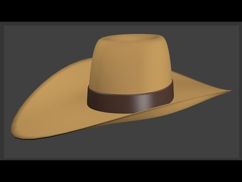 How to make a cowboy hat in blender 3D v2.77 : spoken tutorial (beginner)