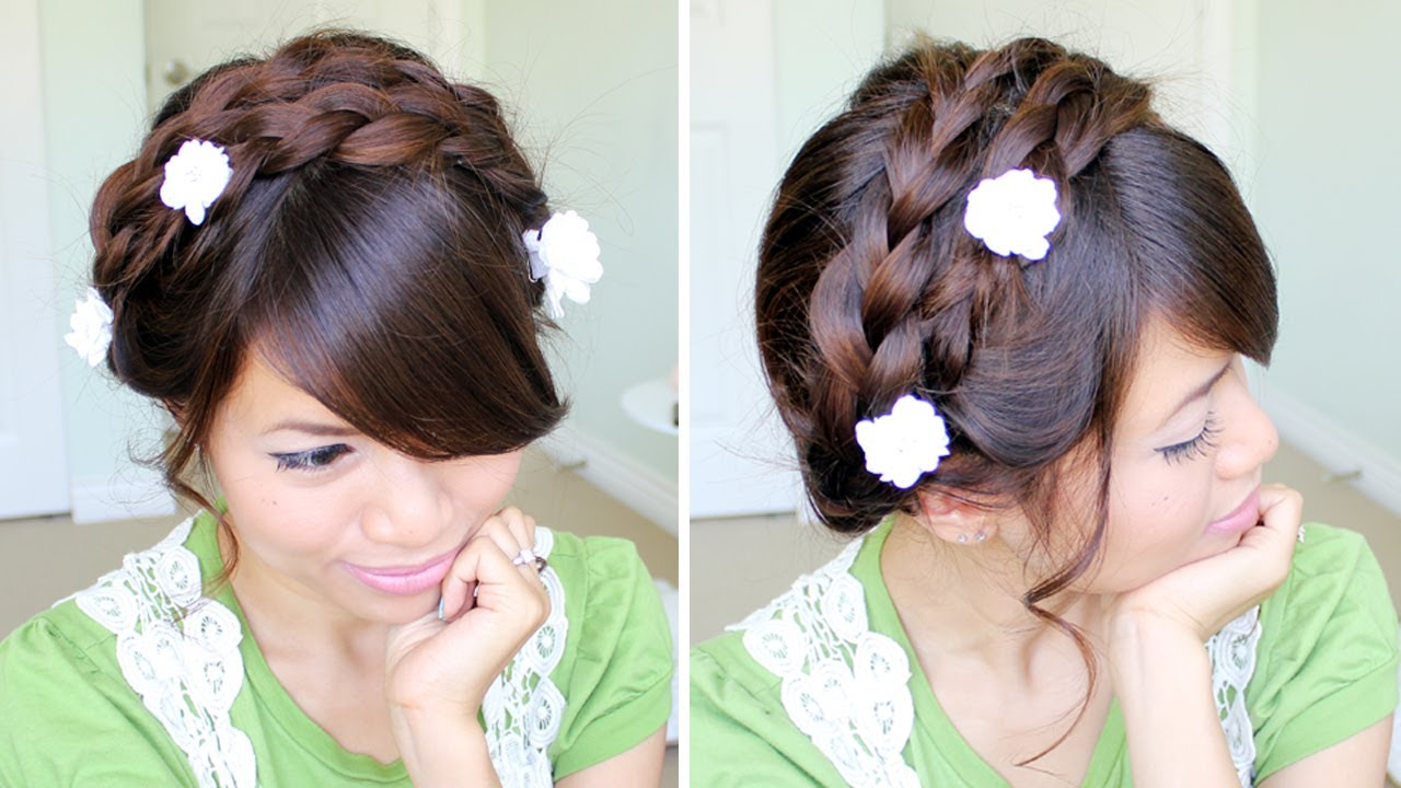 Summer Milkmaid Braided Updo Hairstyle For Medium Long Hair