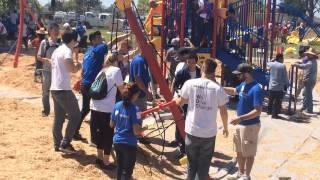 Volunteers Build New Playground At Twila Reid Park