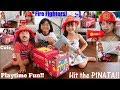 Toy Channel: Firefighter Pretend Play! A Fire Truck Pinata Playtime! Candies, Toys and More!