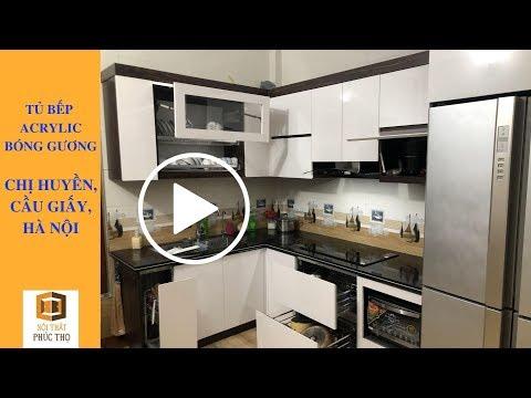 Tủ bếp Acrylic An Cường bóng gương - Nội Thất Phúc Thọ Thi Công nhà chị Huyền, Cầu Giấy, Hà Nội