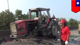Farm tractor causes highway accident crash, farmer breaks law by driving on highway - TomoNews