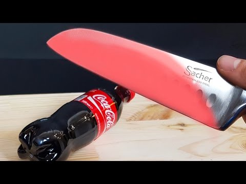 EXPERIMENT Glowing 1000 degree KNIFE VS COCA COLA
