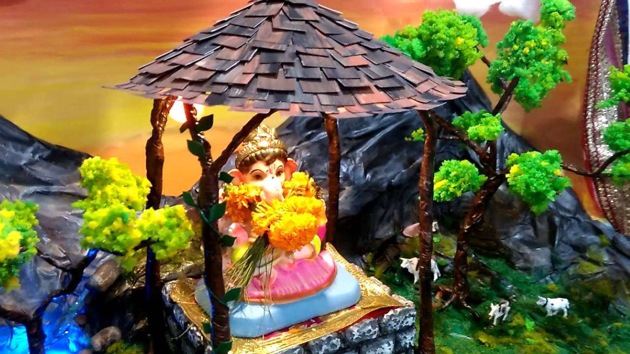 Ganpati bappa decoration ideas - YouTube for Flower Decoration Ideas For Ganpati  584dqh