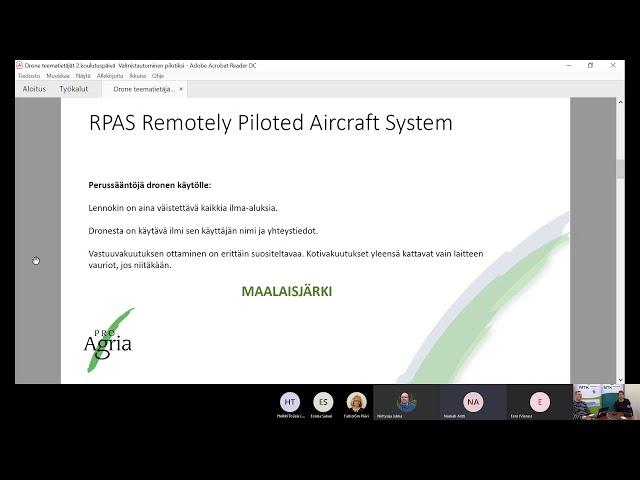 Drone teematietäjät 2.  päivä 20.10.2020
