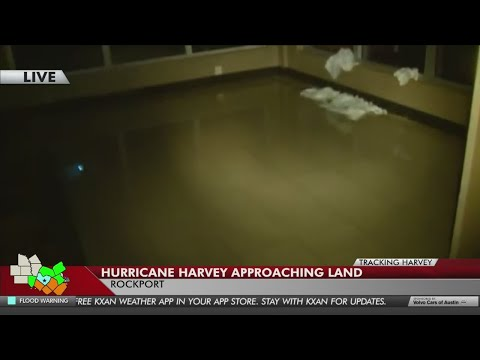 KXAN crews inside the eye of Hurricane Harvey in Rockport as it moves in