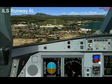 FS2004 Air France 762 Paris CDG to Conakry- Gbessia. Approach and landing at GUCY.