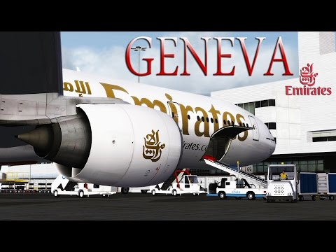 FSX [HD] Emirates | 777-300 | Approach to Geneva