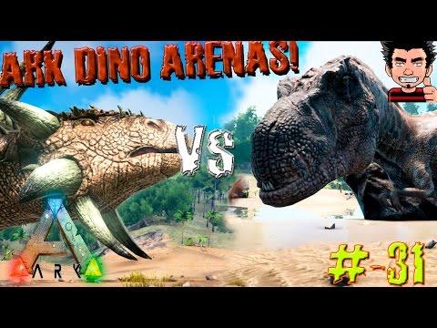 ARK Survival Evolved Ankylo VS Albertosaurus batalla dinosaurios arena gameplay español