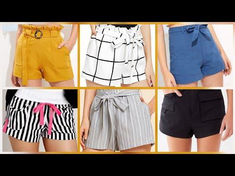 Wide waist self belted grid shorts / paper bag tie waist shorts