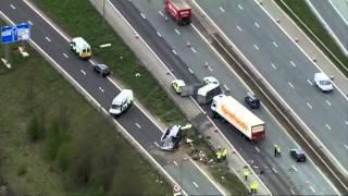 Hen night M62 minibus crash - aerial pictures