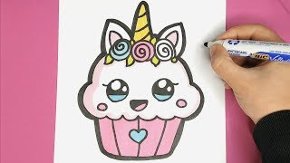 HOW TO DRAW A SUPER CUTE UNICORN CUPCAKE