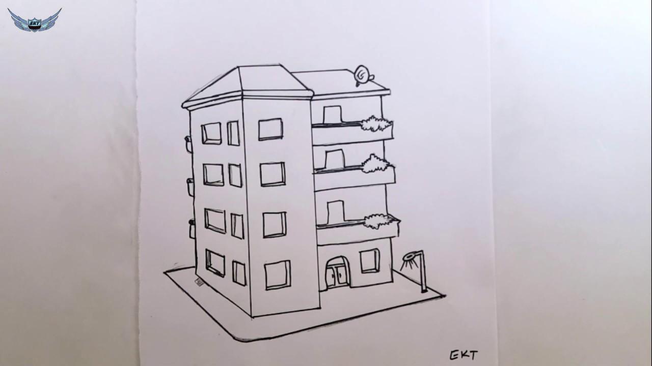 Kolay Ve Basit Apartman Resmi Cizimi Youtube