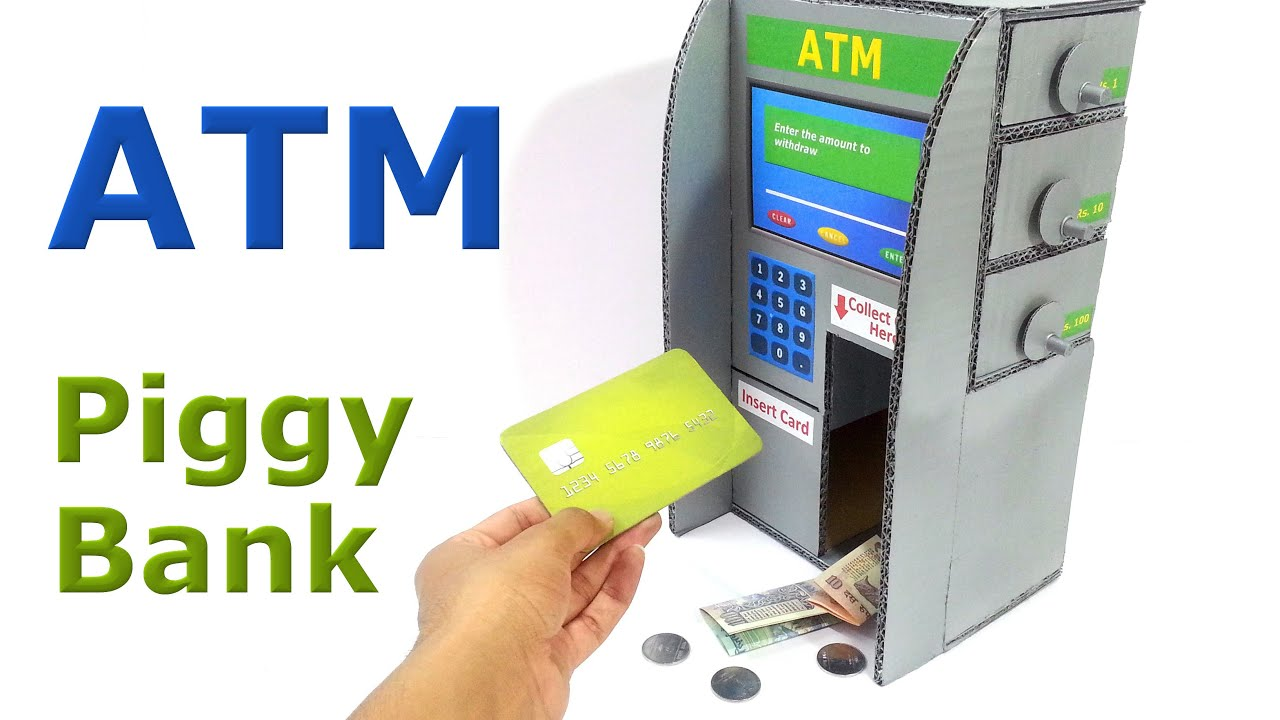papercraft how to make piggy bank atm machine at home