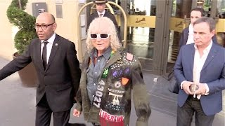 EXCLUSIVE - French singer Michel Polnareff leaving his hotel and attending RTL Radio Show