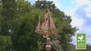 Good Directions 9907p Large Sailboat Weathervane - Polished Copper