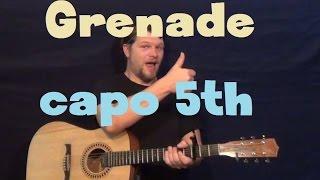 Grenade (Bruno Mars) Easy Guitar Lesson Capo 5th Fret