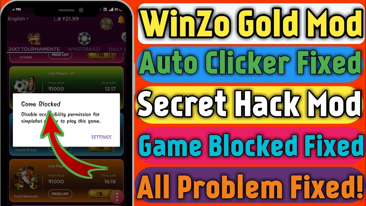 WinZo Gold Hack Mod Version All Problem Fixed | Auto Clicker Problem Fixed | TrickySk