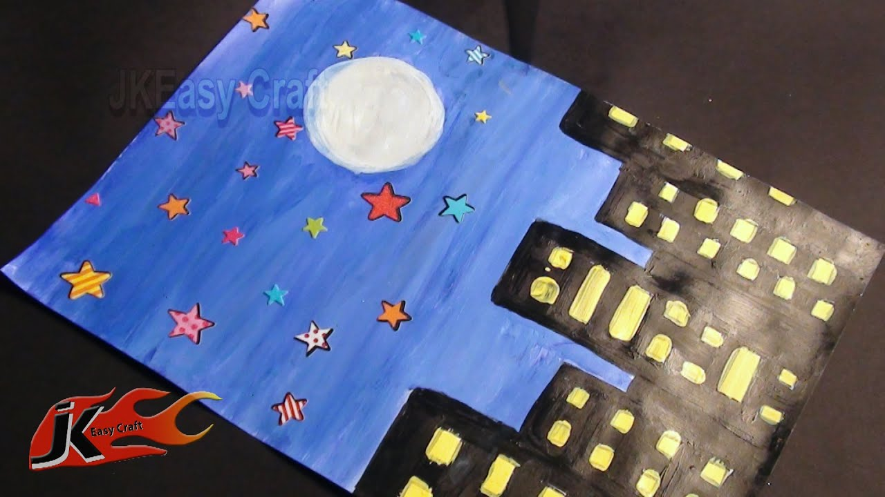 Draw Night Scene School Project For Kids Jk Easy Craft 017 Youtube