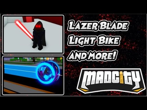 Lazerblade Update, Secret Easter Egg, Light Bike Update In Mad City Roblox!!