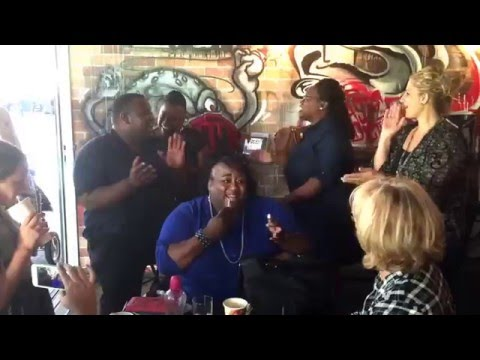 Freda Mitchell - impromptu Gospel singing at Brisbane Cafe