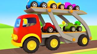 Veículos de serviço transportam os carros de corrida! Desenhos animados e histórias para crianças