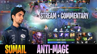 SumaiL - Anti-Mage Gameplay | RAPIER BUILD | STREAM with Commentary | Dota 2 Pro MMR