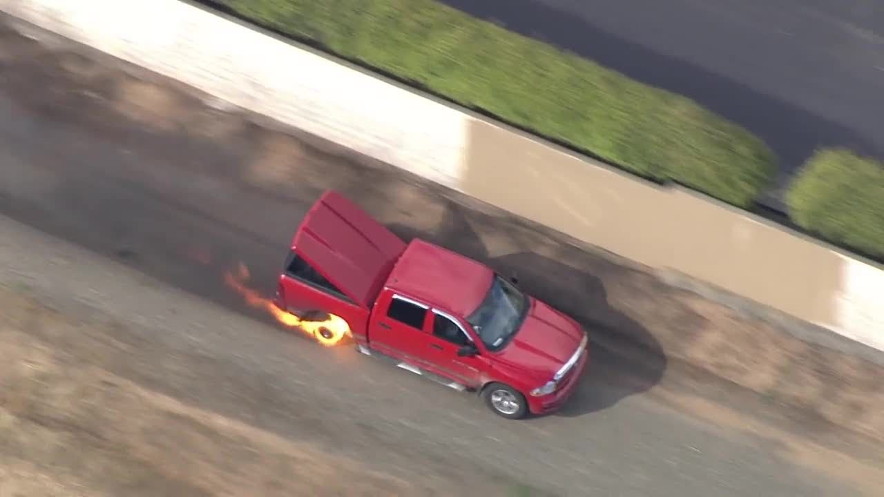 Truck catches fire after police chase in Sacramento