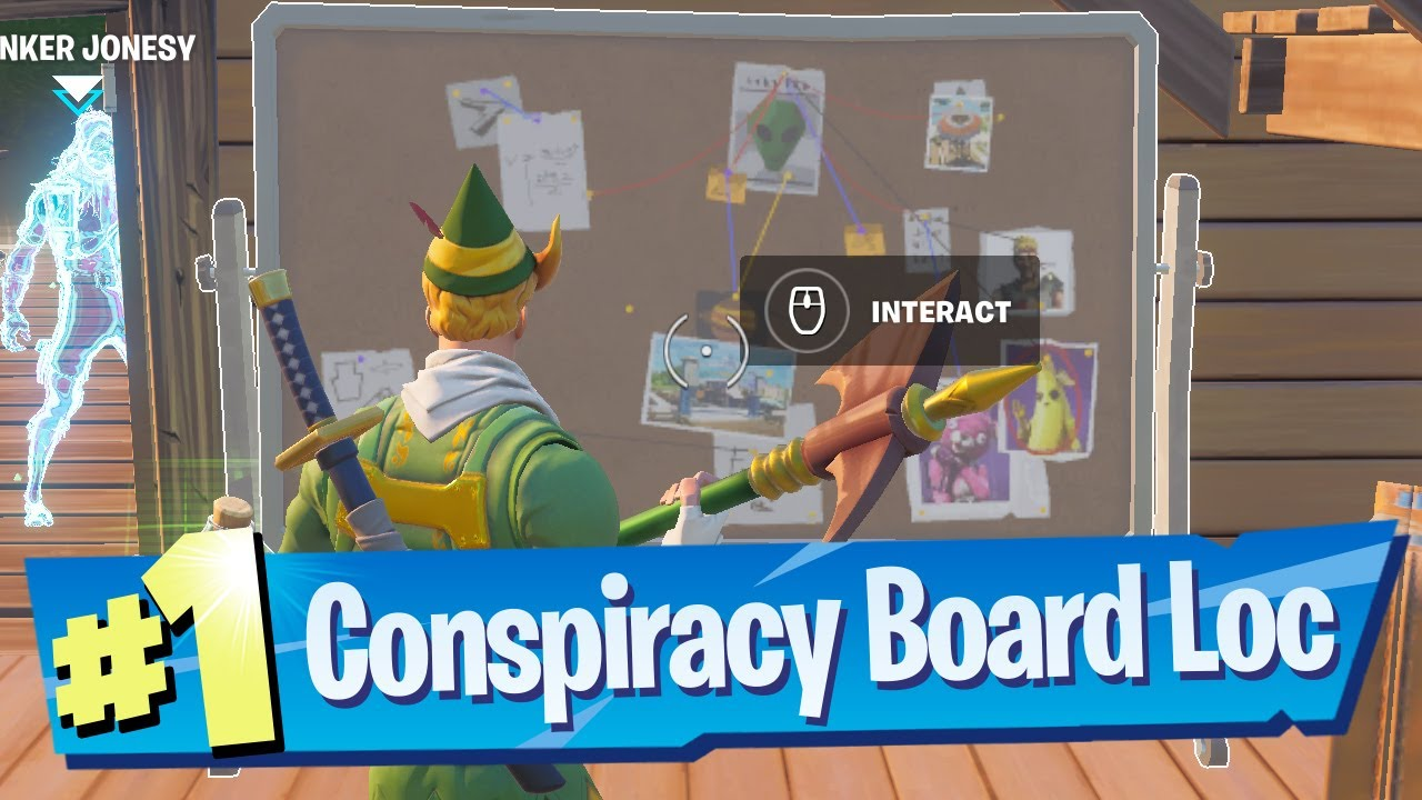 Download Interact with Bunker Jonesy's Conspiracy Board Location - Fortnite