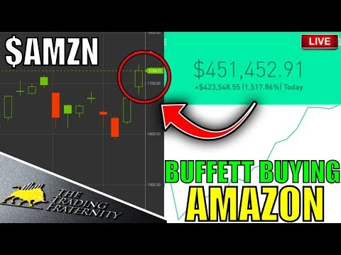 BUFFETT BUYS AMAZON STOCK!! –Day Trading LIVE, Option Trading,  Stock Market News & Money