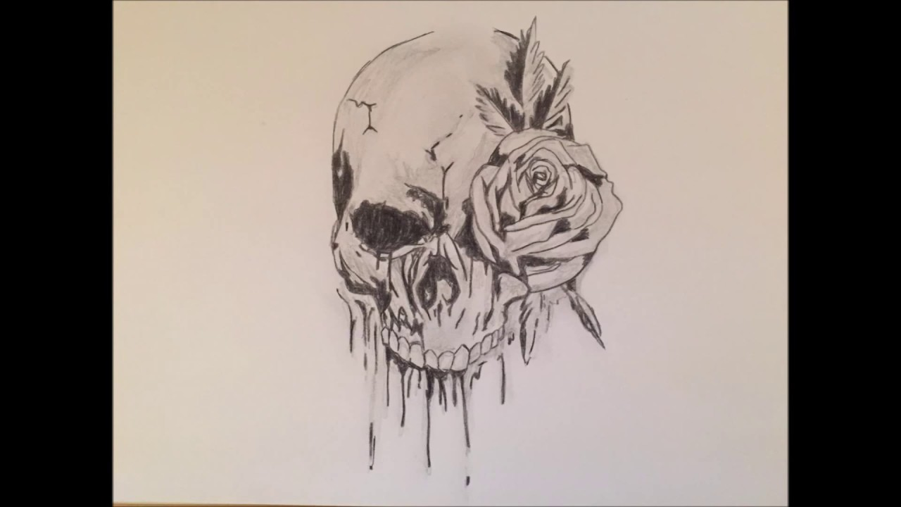 draw a skull with roses time lapse totenkopf mit rose. Black Bedroom Furniture Sets. Home Design Ideas