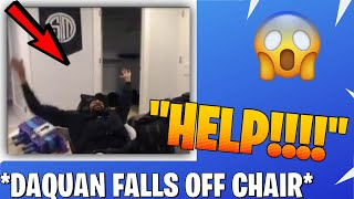 DAQUAN FALLS OFF HIS CHAIR ON STREAM!! (FUNNY) | Best Fortnite moment
