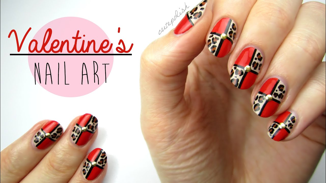 nail art valentine's day leopard