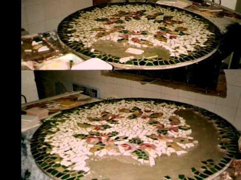 Mesa de Centro Mosaico | Flores | Mesa mosaico, Mosaicos ...