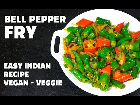 Bell Pepper Fry - Vegan Recipes - Indian Vegan Recipes - Capsicum fry