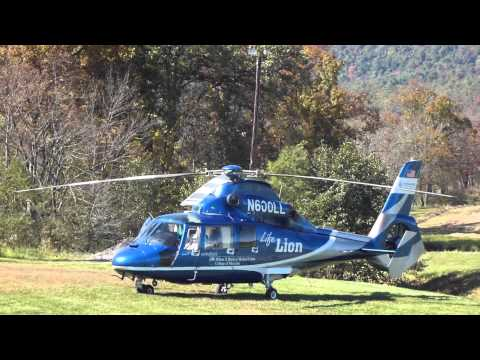 LIFE LION HELICOPTER Landing and Takeoff     October 13 2012 Bloserville,PA Travel Video
