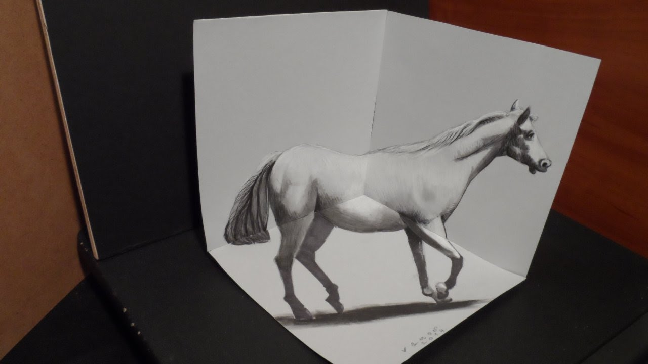 Drawing White Horse  3d Artistic Graphic  Awesome Trick Art  Youtube