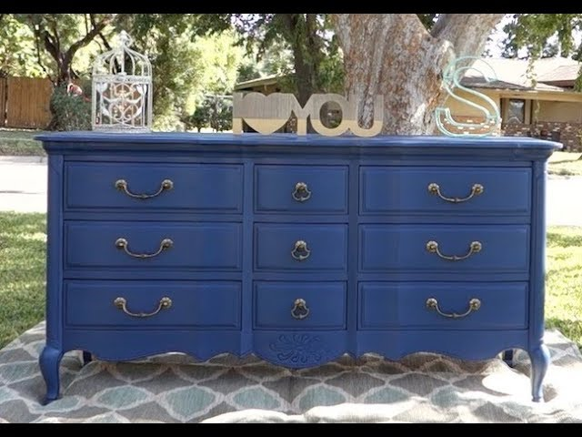 Painting A Solid Wood Navy Blue Dresser, Blue Painted Furniture Photos