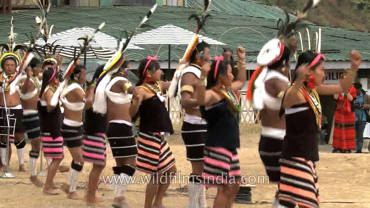 victory dance of the lotha nagas Festival displays house and clothing of each naga tribe also tried to get  area  from a height light brown colored piece on left of pic is where dances are held.
