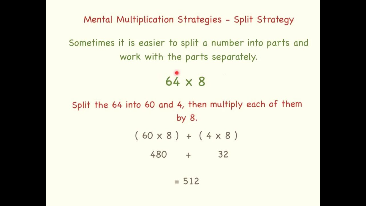 Mental Multiplication Split Strategy YouTube – Multiplication Strategies Worksheet