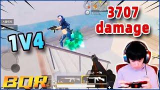 PubgMobile   buqiuren 1V4 insane battle ,21 kills 3707 damage!   Solo vs Squard   【BQR】