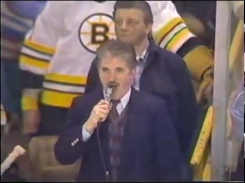 Boston Bruins Canadian and US National Anthems Rene Rancourt Old
