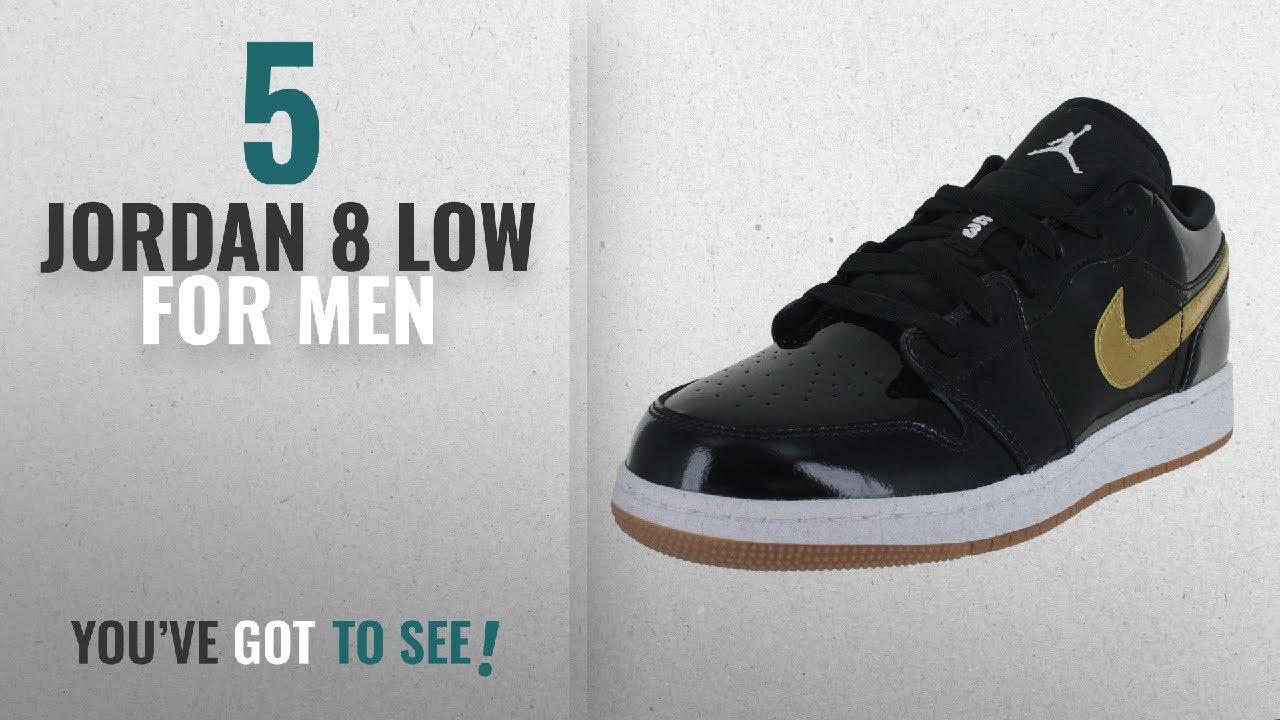 440806942187 Top 10 Jordan 8 Low  2018    JORDAN Kids Air 1 Low GG Black Metallic Gold  White Size 8