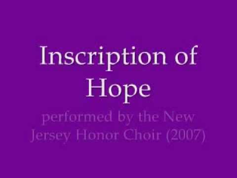 Inscription of Hope NJ Honor Choir 2007
