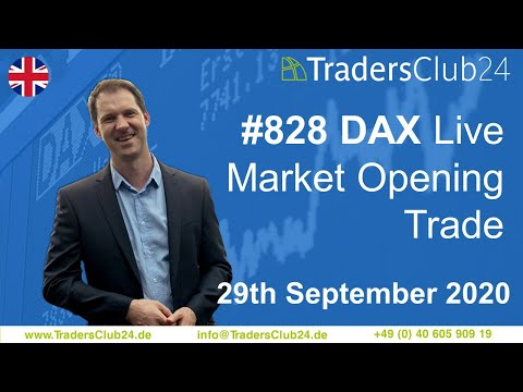 TradersClub24 Dax Open Range Breakout Live Trade 29th September 2020 Daytrading Forex Dax